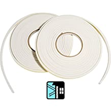Door and Window Self Adhesive Draught Excluder Seal Foam Tape White 4.5M Roll - Pack of 2
