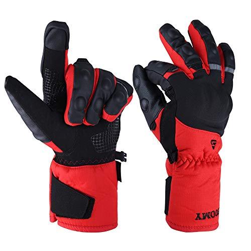Goture Guantes Moto Invierno para Hombre Mujer Impermeables Térmico Guantes de Moto Invierno con Proteccion Pantalla Tactil Dedo Completo para Invierno
