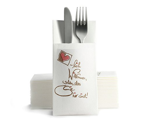 "Characteristics: Even and Fabric-Like Airlaid Disposable Napkins Cutlery Pocket Napkins ""Herzlich Willkommen."" (""A Warm Welcome. Pack of 50"