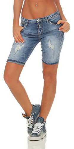 OSAB-Fashion 35119 Damen Jeans Bermuda Shorts Kurze Hose Hot Pants Jeansbermuda Panty Destroyed - Jeans Zerschlissene