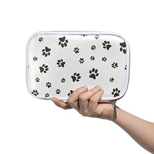 ISAOA Große Kapazität Multifunktions-Mäppchen für Schule, Fußabdrücke eines Hundes Robustes Schreibwaren, Federmäppchen, Kosmetiktasche für Stifte, Make-up, Pinsel, Notizbuch -