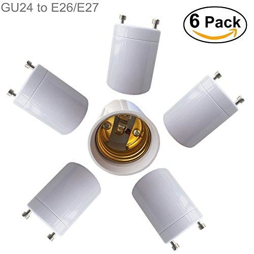 Eleidgs 6 PCS GU24 a E27 / E26 Adattatore 2 Pin a baionetta (GU24) prese alla vite centrale (E27/E26) convertitori portalampada di base