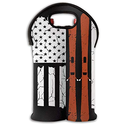 Neoprene Wine Tote Bag Insulated Flag Golf Club Travel Padded 2 Bottle Wine/Champagne Cooler Carrier