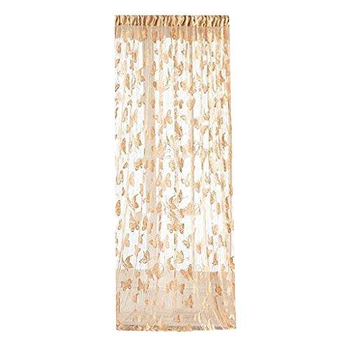 Sharplace Schmetterling Vorhang Fadenvorhang Jacquard Tür Fenster Scheibe Raumteiler Quaste 200cm x 100 cm - Beige