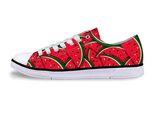 Watermelon Womens Low Top Canvas Ox Sneakers Walking Pumps Tennis Shoes Flats Red C3905AP. Women's US 9 \u002F EU 39