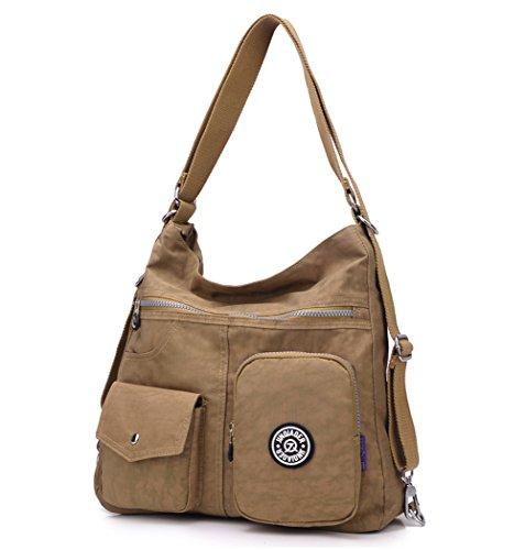 Travistar Nylon Wasserdichte Damen Schultertaschen Mode Rucksack Damen Handtasche Multifunktions Tasche für Büro oder Lässige täglich-Schwarz Beige
