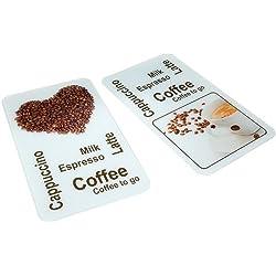 Wenko 2521435500 - Planchas protectoras para cocina con motivo de café , 2 piezas, de vidrio, cada una 30 x 1.8 y 4.5 x 52 cm, multicolor