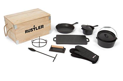 rustler-dutch-oven-set-inkl-holzkiste-9-teilig-aus-gusseisen-mit-emaille-beschichtung-bbq-kochset-mi