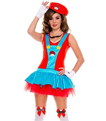 Damen-Kostüm SEXY KLEMPNER Super Mario, (Pilz Super Kostüm Mario)