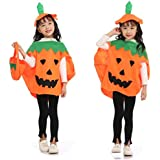 Fancy Steps Pumpkin Costume + Bag Halloween Fancy Dress For Kids School Annual Function Theme Party Competition Stage Shows Birthday B'day Party (7-8 Years)