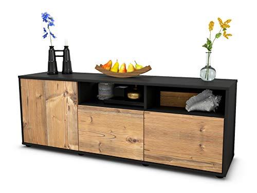 TV Schrank Lowboard Angelina, Korpus in anthrazit matt / Front im Holz Design Pinie (135x49x35cm), mit Push to Open Technik, Made in Germany