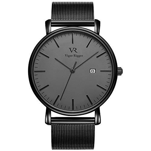 Vigor Rigger orologio da uomo, da polso ultra-sottile colore nero design classico stile minimal classico con calendario e banda di maglia milanese