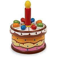 """Spieluhr """"Geburtstagstorte"""" aus bunt lackiertem Holz, mit einer austauschbaren Holzkerze und der Melodie """"Zum Geburtstag viel Glück"""", tolles Schmuckstück für den Geburtstagstisch preisvergleich bei kleinkindspielzeugpreise.eu"""