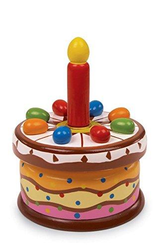 """Spieluhr """"Geburtstagstorte"""" aus bunt lackiertem Holz, mit einer austauschbaren Holzkerze und der Melodie """"Zum Geburtstag viel Glück"""", tolles Schmuckstück für den Geburtstagstisch"""