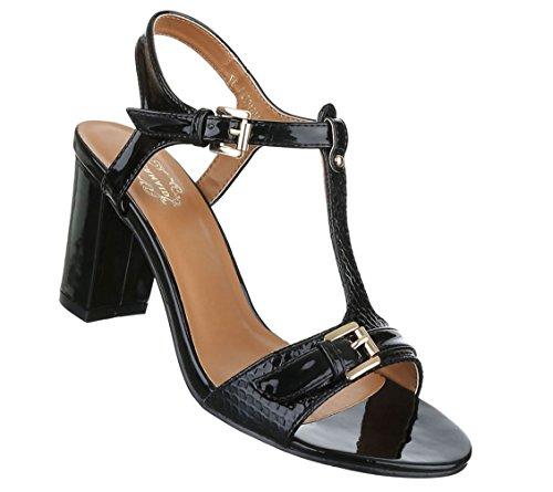 Damen Sandaletten Schuhe Pumps Abendschuhe Elegant Party Club High-Heel T-spange Pumps Schwarz Weiß Rosa 36 37 38 39 40 41 Schwarz
