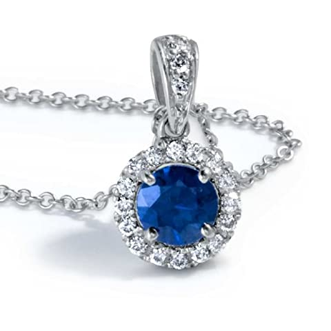 Brand New 0.75 Carat Sapphire and Diamond Pendant With Chain, 14K White Gold