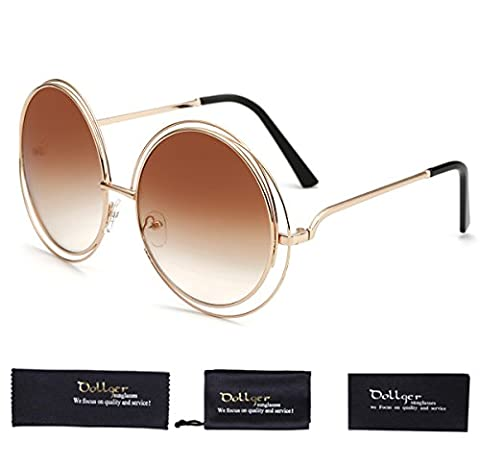 Dollger Oversized Double Circle Frame Round Designer Fashion Cut-Out Sunglasses(Brown Lens+Metal Frame)