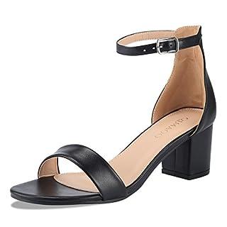 Qimaoo Damen Riemchensandalen 6cm Blockabsatz Sandalen Knöchelriemen Sandaletten Sommer High Heels Schuhe mit Absatz - Schwarz - 38.5 EU
