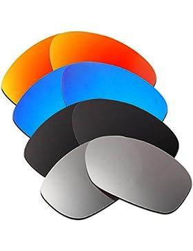 Hkuco Mens Replacement Lenses For Oakley Pit Bull Red/Blue/Black/Titanium Sunglasses