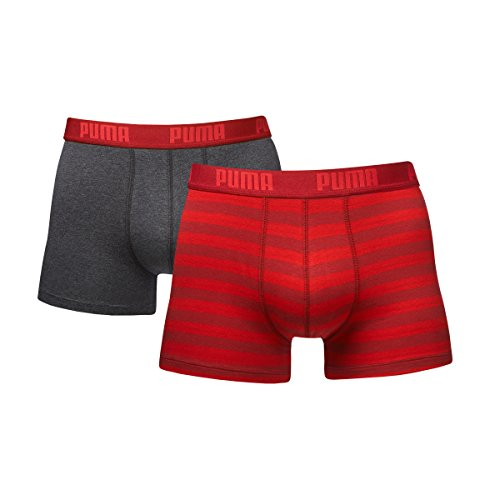 Boxershorts Puma (Puma Herren Striped   Boxer 2er Pack, Mehrfarbig (Rot), L, 651001001)