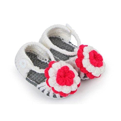 Malloom Niño recién nacido bebé flor tejer encaje Crochet hebilla sandalias para 3-12 meses de edad (Acerca de 11cm, gris)