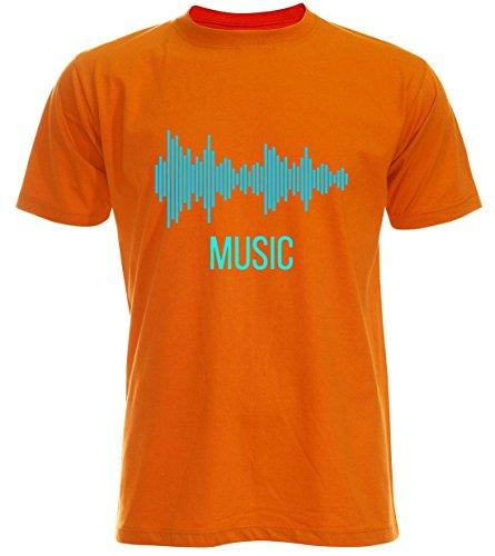 PALLAS Unisex's Sound Music Equalizer T Shirt Orange