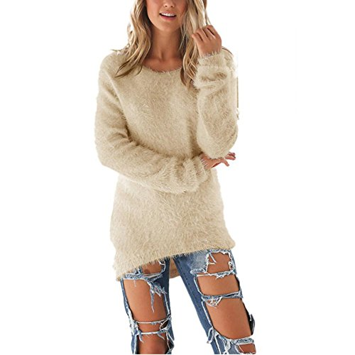 Coversolate Las mujeres de manga larga de punto jersey Suéter suelto Jumper Tops de punto (M,