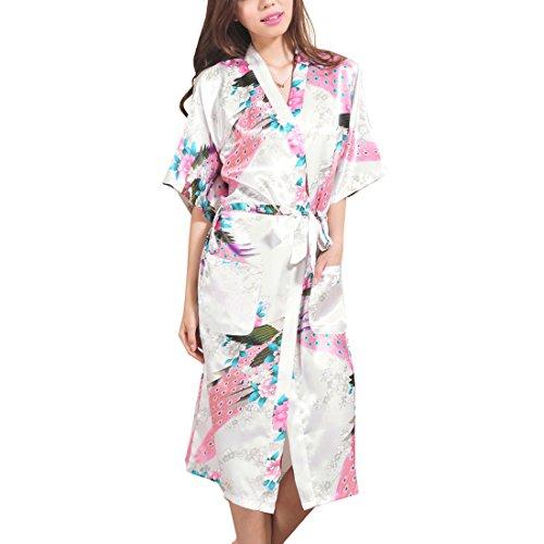 Femme Robes de Chambre et Kimonos Peacock et Fleurs Satin lingerie de nuit longues Blanc