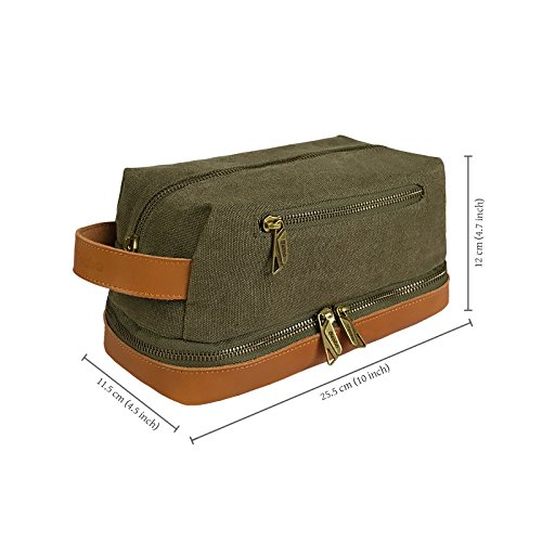 becko-leather-canvas-travel-toiletry-dopp-kit-travel-shaving-grooming-bag-with-carry-handle-for-men-