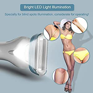 Electric Lady Shaver Razor Bikini Trimmer Body Hair Remover for Women Underarm Leg Rechargeable Wet and Dry Waterproof Cordless Painless with LED Light