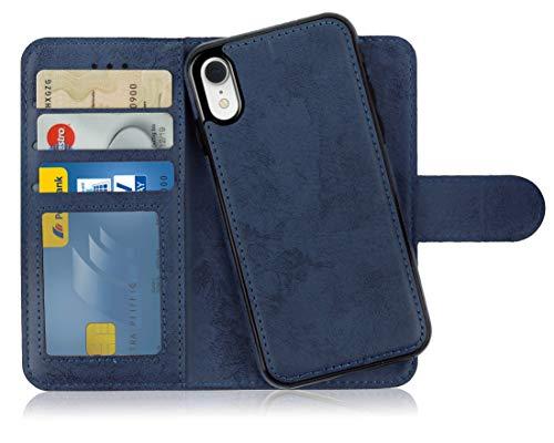 MyGadget Flip Case mit Back Cover [2 in 1] für Apple iPhone XR (NEU) Magnetische Hülle in PU Leder Klapphülle - Kartenfach Schutzhülle Wallet Dunkelblau Apple Iphone Magnet Flip Case
