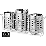 Stainless Steel Spoon Holder & Stand Set Of 3 With 6 Spoon & 6 Fork| Cutlery Holder With Stand Set Of 3 With | Presented By Quality Cops