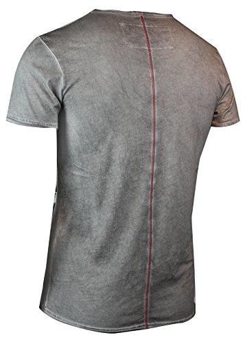 trueprodigy Casual Herren Marken T-Shirt mit Aufdruck, Oberteil cool und stylisch mit V-Ausschnitt (kurzarm & Slim Fit), Shirt für Männer bedruckt Farbe: Dunkelgrau 1063134-5203 Dark Grey