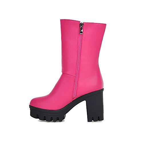 AllhqFashion Damen Hoher Absatz Rund Zehe Reißverschluss Stiefel mit Beschlagene Strass Pink