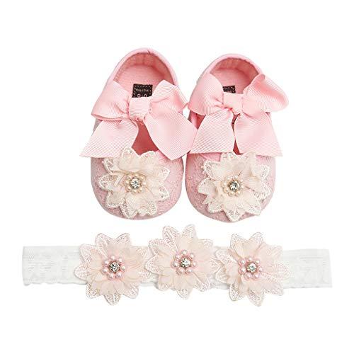Cardith Prinzessin süß Babyschuhe 2 Pcs Baby Mädchen Schuh Anti-Rutsch-weiche Sohle Kleinkind Schuhe+ Stirnband (Flip Flops Bridal Keil)