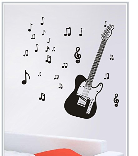 DECOR Kafe Decal Style Decal Style Guitar Wall Sticker Wall poster (PVC vinyl, 121 X 88 CM)  available at amazon for Rs.269