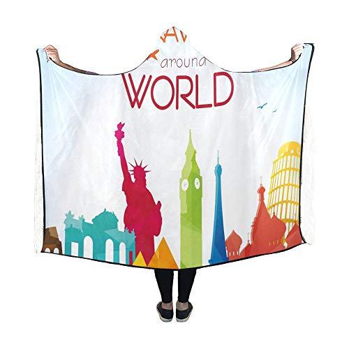 Yushg Mit Kapuze Decke Reise um die Welt Decke 60 x 50 Zoll Comfotable Hooded Throw Wrap (Indien Karte Service)