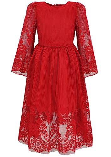 Bonny Billy Mädchen Kleider Vintage Spitze Tüll Hochzeit Festlich Party  Langarm Elegant Abendkleid Cocktailkleid Ballkleid 10-11 Jahre 140-146 Rot e37acd52e2