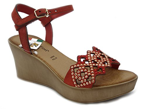 MERCANTE DI FIORI, Sandale aus rotem Leder, mit alleiniger Plattform leichte, gepolsterte Innensohle leder und rutschfestem Gummisohle, Sommer-45703R rot