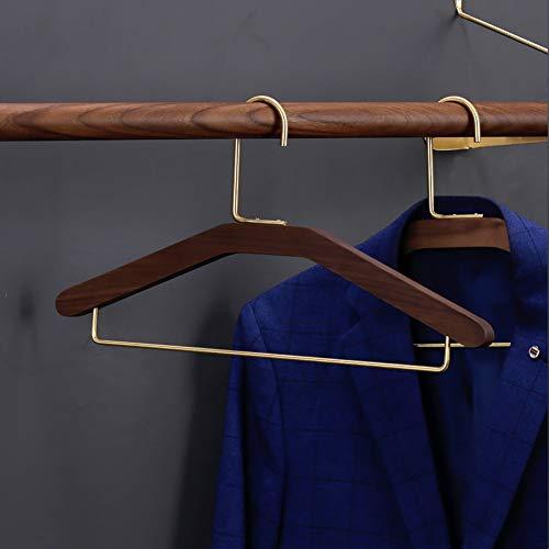 LANKOULI 10 StückMassivholz Kleiderbügel Kleiderständer Hauptschlafzimmer rutschfeste multifunktionale Hosen Clip breitschultrige Kleidung