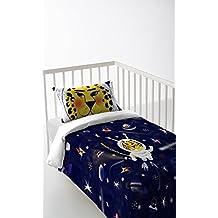 Funda nórdica + sábana bajera + funda de almohada para cunas 120 x 60 cm color azul oscuro algodón 100% Fabricado en España STAR TIGER