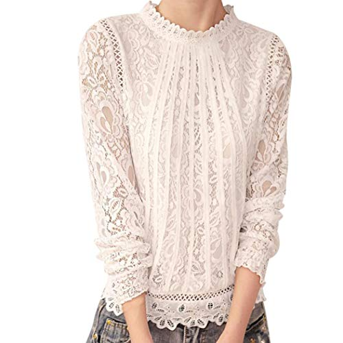 MEIbax Damen Casual Hemd Spitze Polka Dot O Hals T-Shirt Elegant Langarm Tops Bluse Oberteile (3XL, Weiß-1)