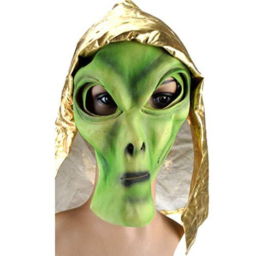Superheld Wirklich Kostüm Einfach - TINGSHOP Alien Latex Maske, Latex UFO Extra Terrestrial Vollkopf Maske Kostüm Prop Green Face Neuheit Vollkopf Party Kostüme Halloween Weihnachten Karneval Rollenspiel Party Dekorative Requisiten