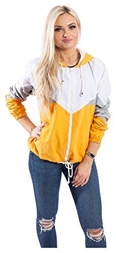 Blouson Damen Übergangsjacke Windbreaker Jacke Kapuzenjacke Colorblock (XS, Gelb)