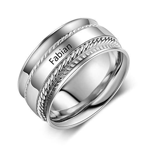Lam Hub Fong Personalisierte 925 Sterling Silber Ring 10mm breiten mit Namen kostenlose Gravur für Frauen Freundschaft Ringe Partnerringe Engagement Trauringe Silber (54 (17.2)) -