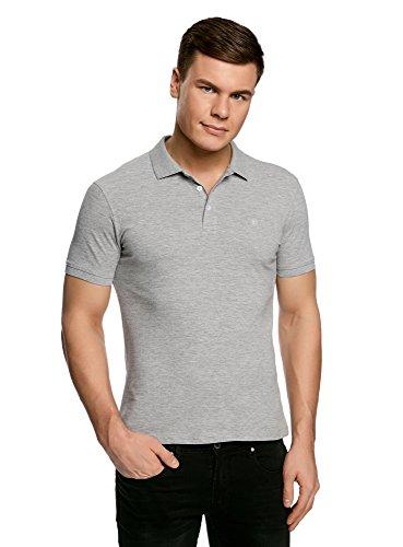 oodji Ultra Herren Pique-Poloshirt Basic, Grau, DE 50/M (Piqué-polo Reißverschluss)