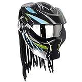 Cooler Predator Motorradhelm,Persönlichkeit Alien Warrior Integralhelm mit dekorativen Lichtern,DOT...