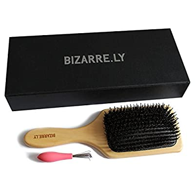 Professional Detangling/Styling Paddle Boar Bristle Hair Brush with Hair Removing Tool by Bizarre.ly - Best Wooden Detangler that Can be used with Blow Drying and Straightening