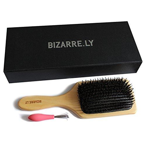 Professionelle Haarbürste zum Entwirren Detangling/Wildschweinborsten mit Haarentfernungs Werkzeug von Bizarre.ly – Der beste Entwirrer aus Holz, kann zum Föhnen und Glätten verwendet werden