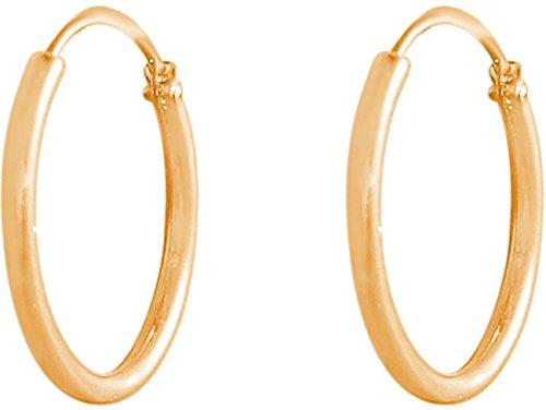 GEMSHINE 585 Gold 14k Creolen endless Hoop Ohrringe im klassischen Design in Größen 10 mm - 16 mm. Made in Madrid/Spanien, Ohrringe Diameter:12